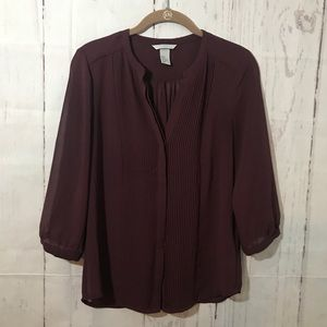 H&M 8 Sheer Blouse Top Button Front 3/4 Sleeves